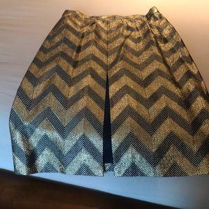 J Crew Gold Chevron Skirt